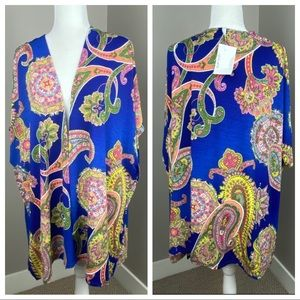 YEE PAISLEY PRINT OPEN FRONT COVER UP/DUSTER TOP